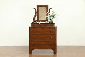 Empire Antique Walnut Flame Mahogany Chest Or Dresser Wavy Mirror 31026