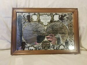 Rare Mappe Monde Glass Framed Mirror World Map 13 X 9 Handmade In England