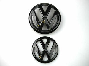 Glossy Black Front And Rear Badge Emblem For Vw Volkswagen Mk7 Gti Golf7 Set