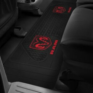 Rear Floor Mat Runner 1994 2019 Dodge Ram Truck Oem Logo Rubber Liner Black Red