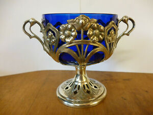 Stunning Art Nouveau Wmf Silver Plate Bristol Blue Glass 2 Handle Loving Cup