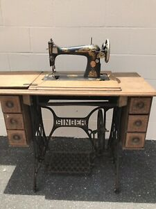 Antique Singer Sewing Machine Cabinet Table 1910 Cast Iron Base