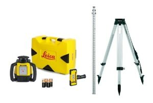 Rotating Laser Leica Rugby 610 W Rod Eye 120 Tripod Rod Contractor Kit