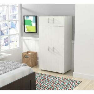 Inval Washed Oak Four Door Wardrobe Armoire