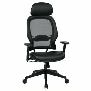Pemberly Row Air Grid Office Chair With Adjustable Headrest In Black