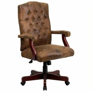 Pemberly Row Executive Office Swivel Chair In Bomber Brown