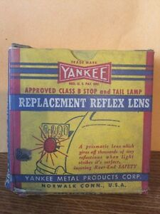 Yankee 197 Glass Reflex Red Lens For Stop Tail Light Lamp Nos 25006
