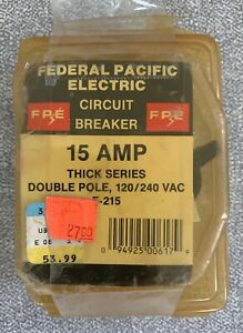Federal Pacific Electric f 215 15 Amp Double Pole Circuit Breaker New old Stock