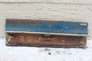 Vintage 1970s Gmc Pickup Truck Tailgate Orig Paint Patina Chrome Trim Part