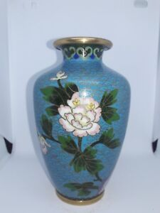 Antique Chinese Cloisonne Vase Blue With Flowers And Bird 19th Century 6 Inch