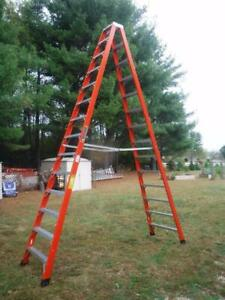 New Louisville Fm1414hd 14 Foot 375lb Double Sided Twin Step Ladder A Frame