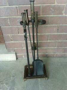 Bradley Hubbard Fireplace Tool Set 5 Piece Mission Hammered Signed