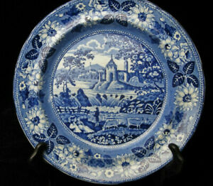 Early Deep Blue Staffordshire Pastoral Plate 9 Ca 1830