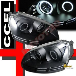 Black Ccfl Led Projector Headlights For 06 09 Vw Rabbit Gti Jetta