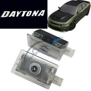 2x Cree Led Door Projector Logo Light For Dodge Charger 06 19 Daytona Pure White
