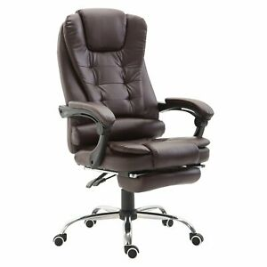 High Back Reclining Pu Leather Executive Home Office Chair With Retractable W9t9