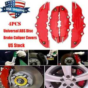 4pcs Abs Plastic Truck 3d Red Car Universal Disc Brake Caliper Covers Auto Kits