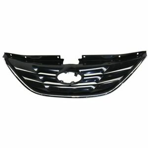 For 2011 2012 2013 Hyundai Sonata Front Grille Black With Chrome Molding