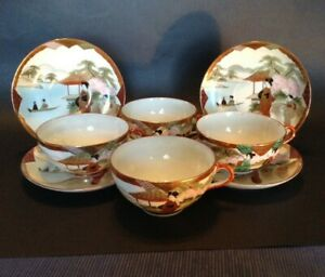 Nippon 4 Eggshell Cups Saucers Hand Painted Red Gold Imari Geisha Japan