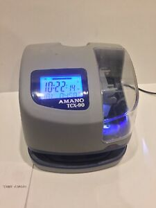 Amano Tcx 90 Electronic Time Clock With Time And Date Stamp With Key