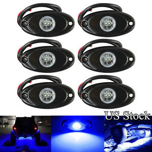 6x 9w Led Rock Light Bar Blue For Car Truck Suv Off road Jeep Underbody Lights