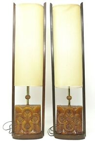 Vintage Pair Mid Century Modern Modeline Style Tall Sculptural Table Lamps