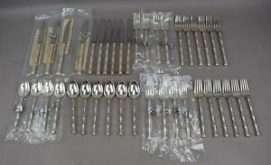 Towle Sterling Silver Flatware Mandarin Set 40 Piece Bamboo Handle Service 10