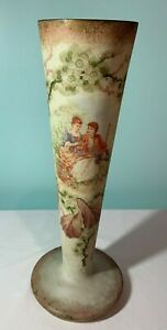 Anitque 14 French Opaline Hand Painted Vase Late 1800 S