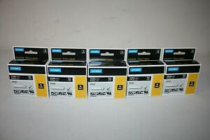 Lot Of 5 Dymo Industrial Rhino Labels 1805435 1 2 Black Vinyl With White Text