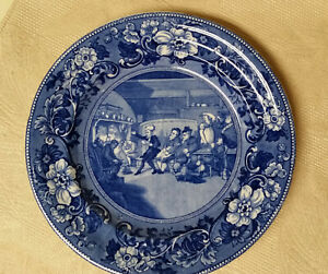 Blue Staffordshire Transferware Dr Syntax Dinner Plate 1840 S