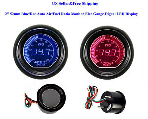 2 52mm Blue Red Auto Air Fuel Ratio Monitor Elec Gauge Digital Led Display Car