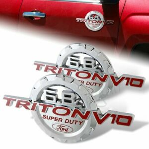 Red 6 8l Triton V10 Super Duty Fender 3d Emblem Badges 2 Pcs For Ford