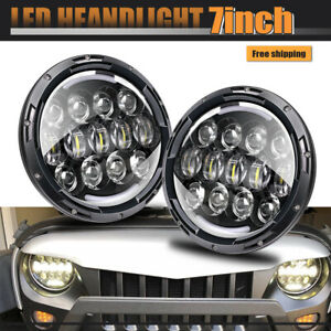 Pair 7 Chrome Led Headlight W Angel Eye Ford Mustang 65 1978 Hummer H1 Vs Hid