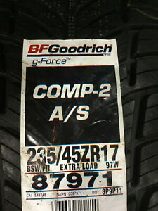 1 New 235 45 17 Bfgoodrich G Force Comp 2 A S Tire