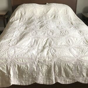 Antique Double Wedding Rings Quilt Hand Stitched Queen Size 80 X 90
