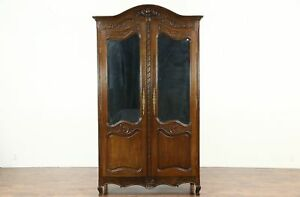 French Antique 1890 Hand Carved Oak Armoire Or Wardrobe Beveled Mirrors