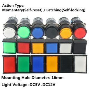 16mm Push Button Switch Momentary latching Square Cap Led Lamp Dc 12v 5v 5 Pin