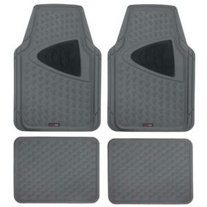 Rubber Car Floor Mats Motor Trend Gray And Black Odorless All Weather Protection