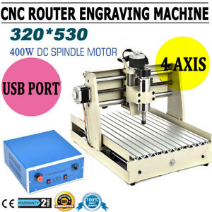 4 Axis Cnc 3040 Router Engraving Usb 400w Woodworking Milling Drilling Machine