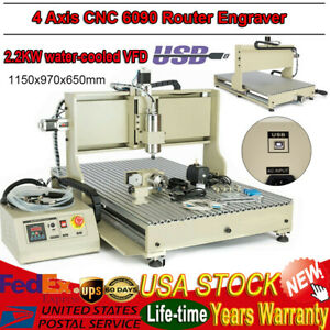 4 Axis Cnc Router Engraver 2200w Usb Wood Engraving Milling Cutting Machine 6090