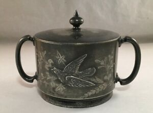 Antique Victorian Silverplate Bird Decorated Engraved Covered Sugar Aurora 274