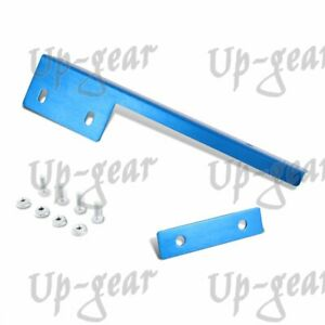 Jdm Univewrsal Brush Bumper Front License Plate Mount Relocate Bracket Blue