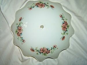 Vintage Ceiling Mount Light Shade White With Floral Motif 11 1 2
