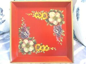 Gorgeous Antique Red Tole Tray Hand Painted Yellow White Hollyhocks