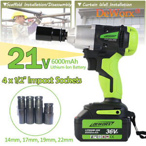 460nm 1 2 Cordless Impact Wrench Lithium Ion Battery Rattle Nut Gun Free Socket