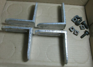 4 Antique Iron Flange Brackets With Square Head Nuts And Bolts Silver Painted