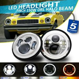 2x 7 Inch 150w Led Chrome Headlight Drl Halo Projector Beam For Chevrolet Camaro