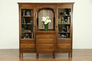 Oak Antique Craftsman Back Bar Pantry Cupboard Or Server China Cabinet 31107