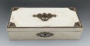Antique Victorian Iron And Wood Paper Lined Trinket Or Jewelry Box