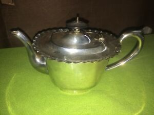 Lovely Antique Teapot Hot Water Pot Silver Look Probably Electro Plate